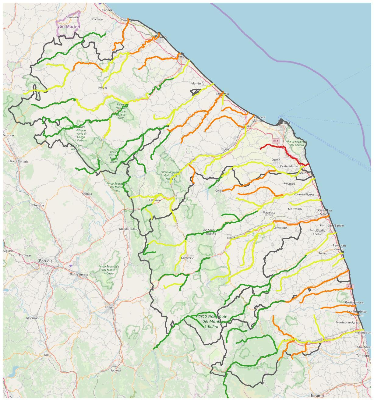 Cartina Politica Regione Marche.Fiumi